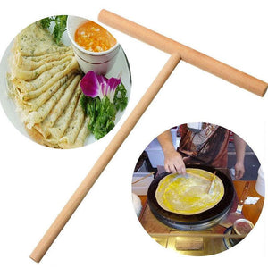 Kitchen Gadget - Practical T Shape Crepe Maker Pancake Batter Wooden Spreader Stick