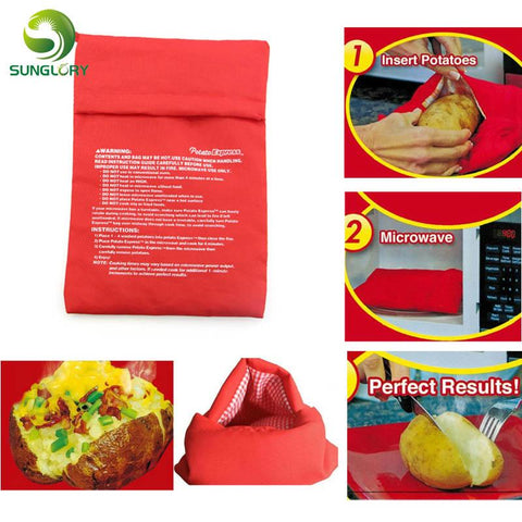 Image of Kitchen Gadget - Red Potato Microwave Baking Potato Cooking Bag Washable Cooker Bag