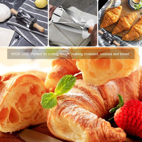 Image of Kitchen Gadget - Stainless Steel Croissant Cutter Wheel Dough Knife Wooden Handle Pastry Tool
