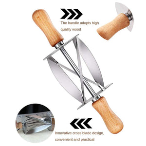 Kitchen Gadget - Stainless Steel Croissant Cutter Wheel Dough Knife Wooden Handle Pastry Tool