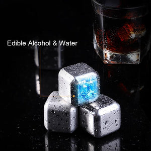 Kitchen Gadget - Stainless Steel Whisky Ice Cubes - Reusable Whiskey Ice Cube