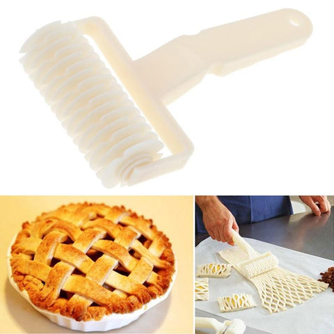 Image of Kitchen Gadget - White Cutter Dough Bakery Roller Plastic Baking Tool Cookie Pie Pizza Bread Pastry Lattice Roller Cutter Kitchen Baking Tools