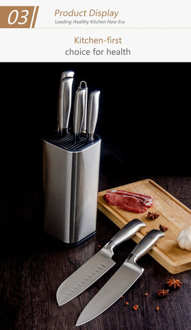 Image of Knife Block - SOWOLL Stainless Steel Kitchen Knife Stand