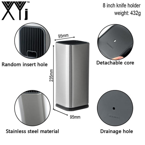 Image of Knife Block - Stainless Steel Kitchen Knife Block Knife Holder For Steel Knives