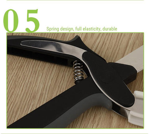 Image of Knife Scissors - Super Useful 2 In 1 Kitchen Knife Cutting Board Scissors Tool