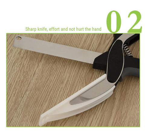 Knife Scissors - Super Useful 2 In 1 Kitchen Knife Cutting Board Scissors Tool