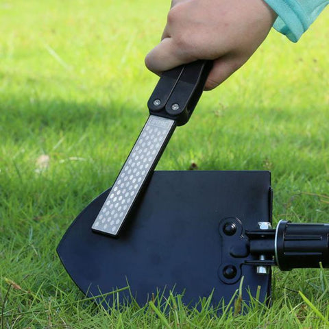 Image of Knife Sharpener - New Double Sided Portable Pocket Sharpener Diamond Knife Sharpening Stone