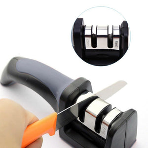 Knife Sharpener - Stainless Steel 2 Stage Knife Sharpener With Ceramic Knife Sharpening Stone