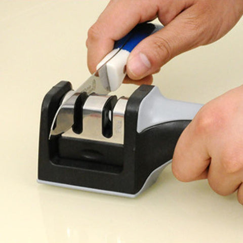 Image of Knife Sharpener - Stainless Steel 2 Stage Knife Sharpener With Ceramic Knife Sharpening Stone