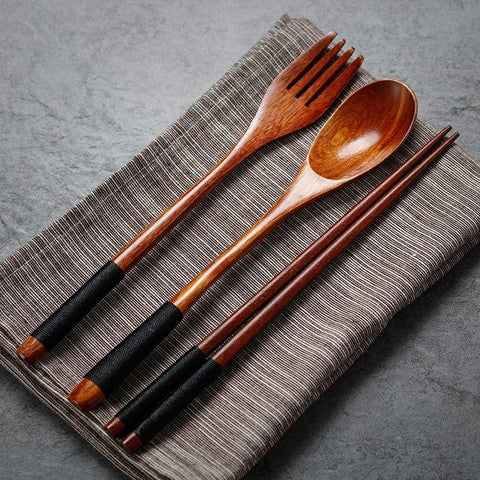 Long Handle Dinnerware Set Wooden Fork Spoon Knife Cutlery Set Tableware