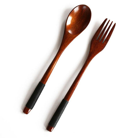 Image of Long Handle Dinnerware Set Wooden Fork Spoon Knife Cutlery Set Tableware