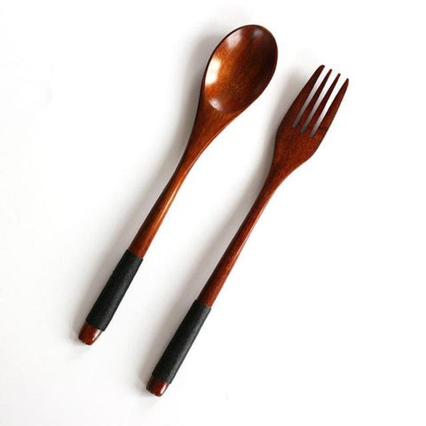 Image of Natural Bamboo Wooden Dining Utensil Tableware Set