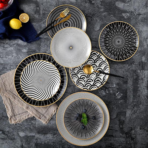 Plate - 6pcs Tableware Porcelain Ceramic Dinner Plate