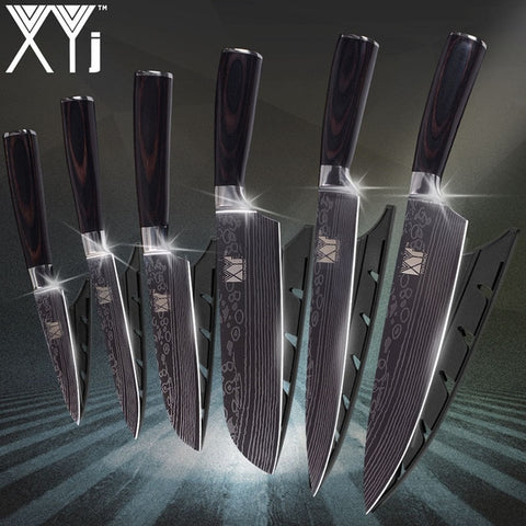 "Image of 6 Piece Kitchen Knife Damascus pattern 8"" 7"" 5"" 3.5"" inch - Makes a great gift!"