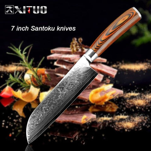 Image of Chef Knife Damascus Bone Knife Utility Japan vg10 Micarta Handle - Great Deal