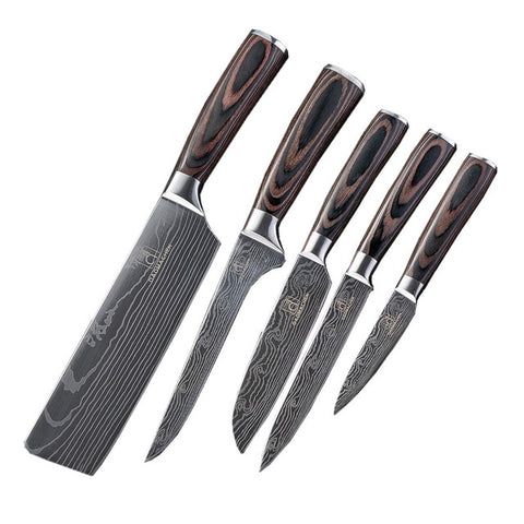 Image of Wilson Cutlery 10 knife set Damascus kitchen knives - Free shipping
