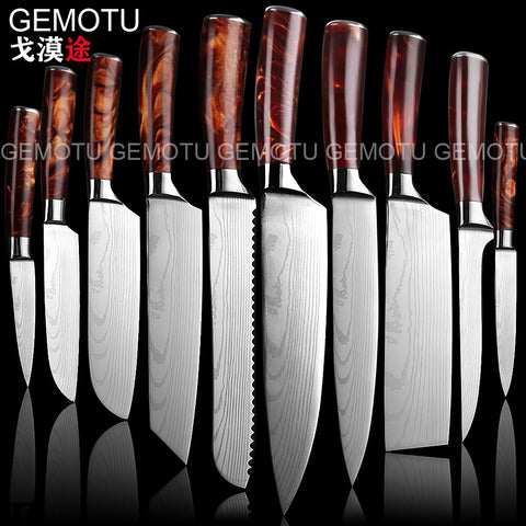 10 sets of 3.5-7-8-inch Japanese laser kitchen knife, Damascus knife, chef Santoku cutter, personalized printing logo gift knife