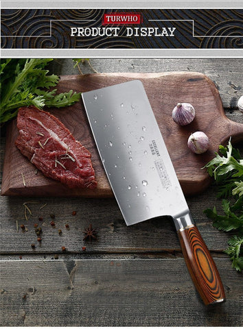 Image of Professional 8 Inch Cleaver German Steel - Pakkawood Handle