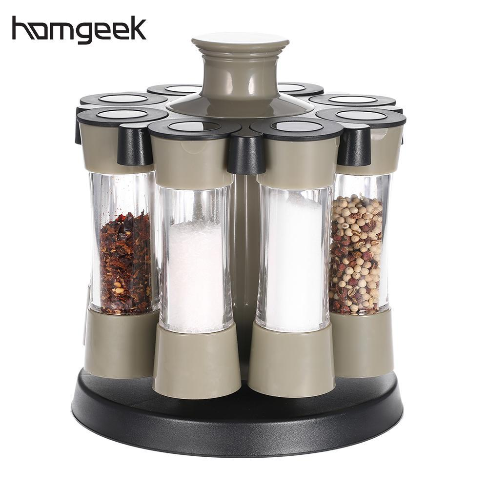 Spice Rack - 8Pcs Kitchen Rotating Spices Bottles Rack