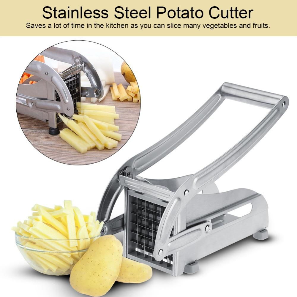 Image of Stainless Steel Potato Cutter Vegetable Slicer Potato Maker Slicer Kitchen Chopper With Interchangeable Blades