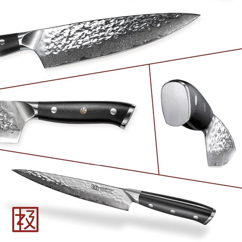 Steel Knives - 2PC Sharp Japanese Damascus Chef Knife Set