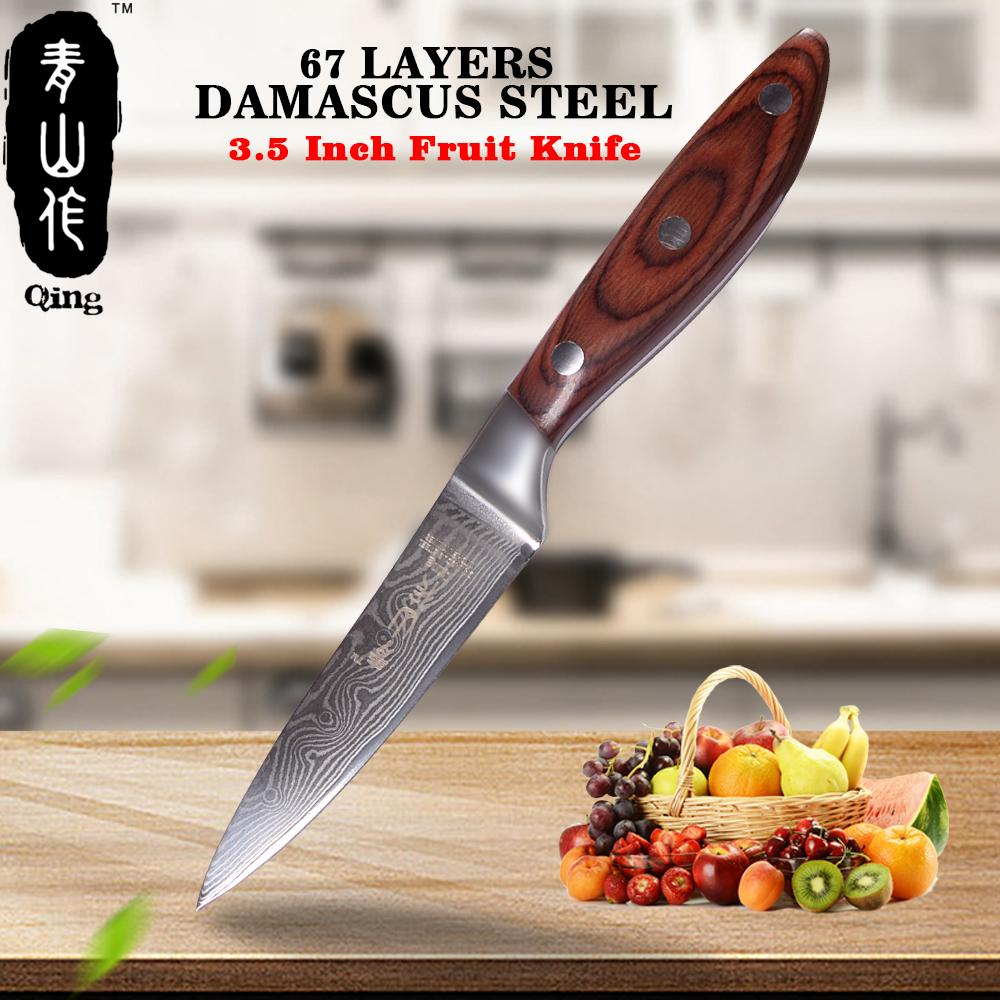 Steel Knives - 3.5 Inch Paring Knife Super Sharp Damascus 67 Layers Steel Wood Handle