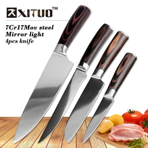 Image of Steel Knives - 4 Pcs Super High Quality Very Sharp Chef Knife Mirror Polished Blade Set