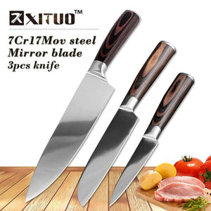 Steel Knives - 4 Pcs Super High Quality Very Sharp Chef Knife Mirror Polished Blade Set