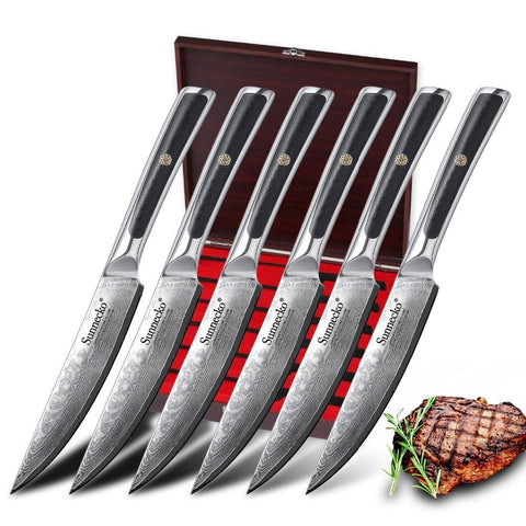 Image of Steel Knives - 6PCS Steak Kitchen Knife Gift Box Set Japanese 73-Layer Damascus VG10 Steel Razor Sharp