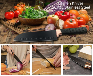 Steel Knives - Black Stainless Steel Set- 3 Pcs 5CR15 Japanese Style Chef Knife W/ Bread Meat Cleaver