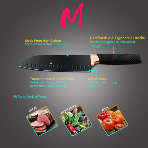 Image of Steel Knives - Black Stainless Steel Set- 3 Pcs 5CR15 Japanese Style Chef Knife W/ Bread Meat Cleaver