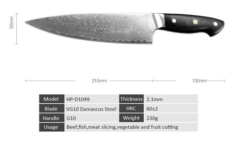 Image of Steel Knives - Chef Knife Damascus Japanese Steel With VG10 Handle - 70% OFF