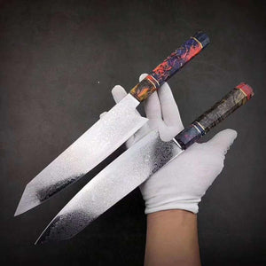 Steel Knives - Damascus Steel Chef Knife Japanese Santoku Utility Knives Sharp Cleaver Slicing Steak Kitchen Knife Stabilized Wooden Handle