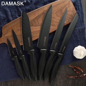 Steel Knives - DAMASK German Kitchen Knife 3Cr13 Black Steel Knives
