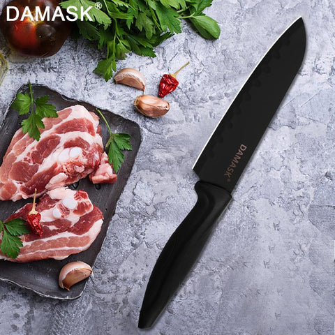 Image of Steel Knives - DAMASK German Kitchen Knife 3Cr13 Black Steel Knives