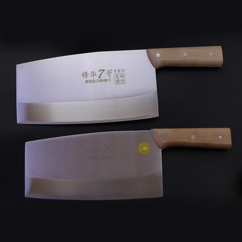 Image of Steel Knives - German Steel Chef Curved Knife Slicing Knives Kitchen Meat Cutter Cleaver