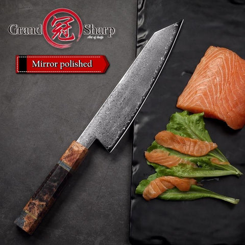 Image of Steel Knives - Handmade Chef Knife Japanese Damascus Steel 67 Layers VG10  Luxury Kitchen Knives