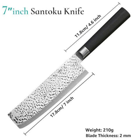 Image of Steel Knives - High Carbon Stainless Steel 7Inch Chef Knives, Utility Santoku Knife/Meat Cleaver