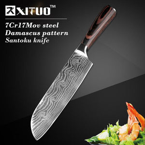"Steel Knives - High Quality 8""inch Utility Chef Knives Damascus Stainless Steel Santoku Knife"