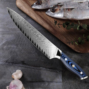 Steel Knives - Japanese Pro Chef Knife Damascus Steel Kitchen Knife - Makes Great Gift!