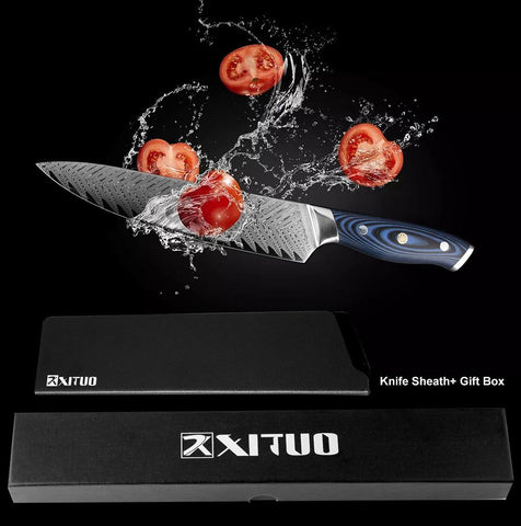 Image of Steel Knives - Japanese Pro Chef Knife Damascus Steel Kitchen Knife - Makes Great Gift!