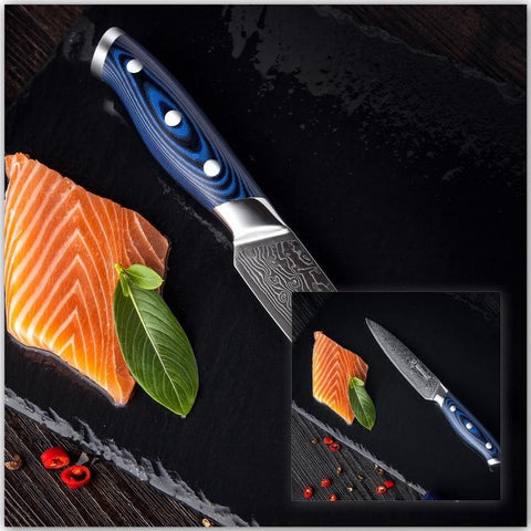 Image of Steel Knives - Japanese VG10 Stainless Steel Knife 4 Pcs Set Damascus - 67 Layers