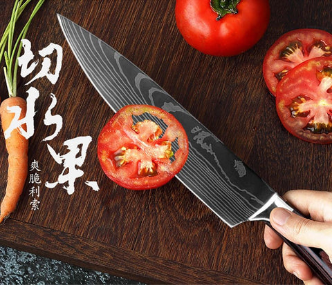 Image of Steel Knives - Kitchen Chef Knife Stainless Steel Set W/ Knife Holder