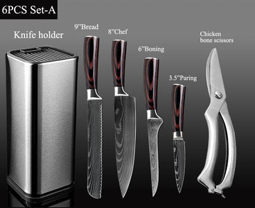 Steel Knives - Kitchen Chef Knife Stainless Steel Set W/ Knife Holder