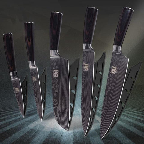 Steel Knives - Kitchen Knife Damascus Pattern With Holder - (60% OFF)