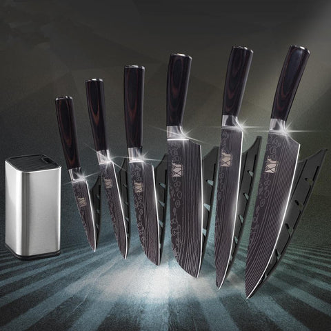 Image of Steel Knives - Kitchen Knife Damascus Pattern With Holder - (60% OFF)