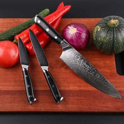 Image of Steel Knives - Mokithand 4pcs Japanese Kitchen Knife Sets Damascus Steel Chef Knives 67 Layer Sharp VG10