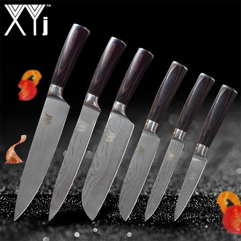 Image of Steel Knives - New Arrival High Carbon Stainless Steel Knives Set Wood Handle
