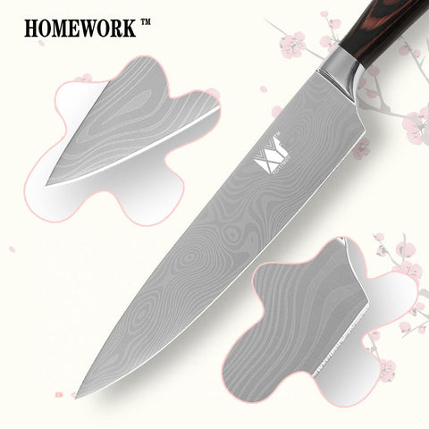Image of Steel Knives - Professional Chef Damascus Stainless Steel Knives W/ Wood Handle Set