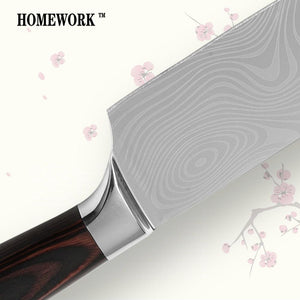 Steel Knives - Professional Chef Damascus Stainless Steel Knives W/ Wood Handle Set